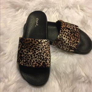 Shoes - Leopard Print Velvet Slides